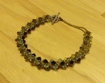 Bead Woven Swarovski Crystal Bracelet Black Green Turquoise Yellow
