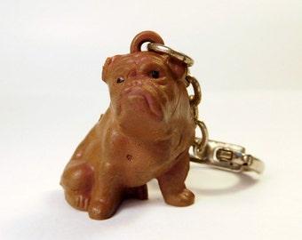 Vintage English BULLDOG Key Chain - Ring / Hong Kong / Rubber / Collectible Dog