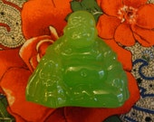 """Vintage Buda Figurine 1960s - Glass -Jade Green translucent """"Made In The People's Republic of China"""" 2 1/4"""" high & 2 1/2"""" wide base"""