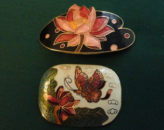 Vintage Craft/Jewelry Supply - Two Cloisonee pieces, Enamel on gold tone metal, Water Lily on black and Butterfly with Water Lily