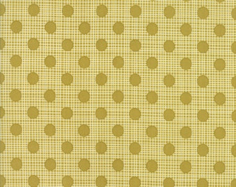 Olive Green Polka Dot Fabric - Wing & Leaf by Gina Martin from Moda - Fat Quarter