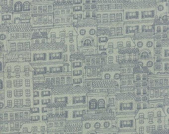SALE - Aqua House and City Fabric - Mon Ami by Basicgrey from Moda - 1/2 Yard