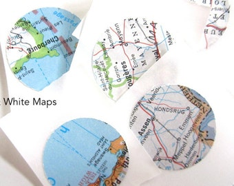 Map Seals for Envelopes, Created from Vintage Maps, Travel Theme Wedding, Handmade Stickers for Weddings and Parties