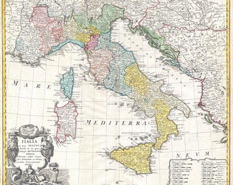 Vintage map of Italy digital download