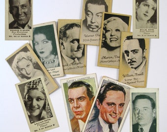 Vintage 1940's  Movie Star 2 Players Cigarettes cards and 10 Engrav-o-tints cards