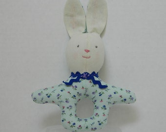 Baby Bunny Rattle - Infant Toddler Toy - Soft Rattle - Pastel Green Rattle - Baby Shower Gift - Infant Room Decor - Easter Basket Toy