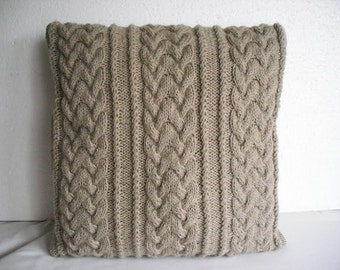 Decorative pillow. cable knitted pillow cover. Throw Pillow Cover, Beige Knit Pillow Case, Hand Knit Cushion Cover, Home Decor.
