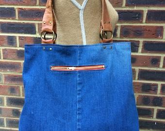 Recycled Denim bag- Blue denim bag- LARGE tote/saddle style- strong tan leather handles.
