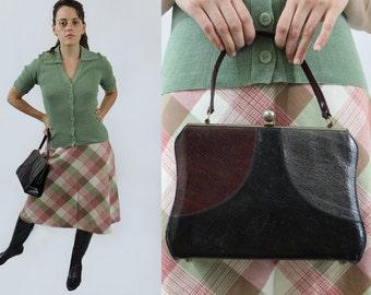 vintage early 1950s mid century black, burgundy & grey purse leather handbag metal clasp top handle day bag 40s-50s