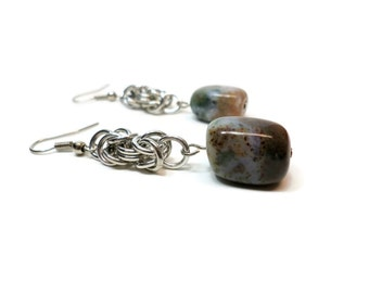 Moss Agate Earrings, Byzantine Chainmail Earrings, Agate Jewelry, Gemstone Earrings, Gemstone Jewelry
