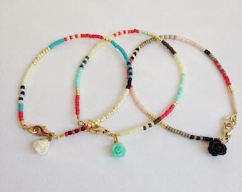 Multicolor tiny bead bracelet, Simple bead bracelet, layering bracelet, boho modern bracelet, extra thin bracelet, rose charm
