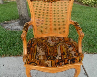 INSANE CANE / French Cane Chair Covered In Jack Lenor Larsen Psychedelic Fabric / Un-Traditional Decor
