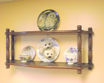 Wooden Plate Display Shelf Holder Double Wide for your BIG Plates too ! Tea Cup Saucer Curio