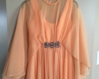 Vintage Emma Domb orange peach sherbert dress cape small medium
