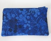 Zippered Coin Purse with Blue Floral Print and Card Slot
