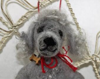 Needle felted poodle ornament, gray poodle Pet Pockets, light gray poodle, standard, miniature poodle, bedlington terrier, ready to mail