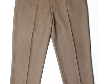 Vintage 80s Farah Brown Pleated Front Trousers XL W38 L29 US