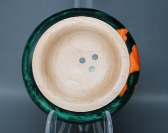 Artistic Handmade Wooden Ring Dish made of Maple with a Green & Orange Pearl Resin Inlay – Wedding Engagement Gift, Collectible Modern Art