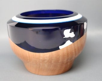 Handcrafted Turned & Carved Wooden Bowl of Maple with Dark Blue White Resin Top - Collectible Art, Contemporary, Wedding Engagement Gift