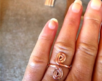 Copper Spirals Ring - Handcrafted - Copper Slightly Adjustable Sized to Order
