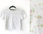 White Babydoll Floral Crop Top 90s Inspired