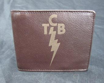 Elvis TCB leather bi fold wallet- hand made premium leather
