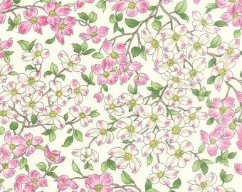 DOGWOOD TRAIL II small pink white blossoms on porcelain white Moda by the yard cotton quilt fabric Sentimental Studios 33031 11