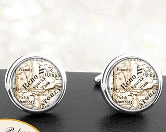 Map Cufflinks Reno NV Cuff Links State of Nevada for Groomsmen Wedding Party Fathers Dads Men