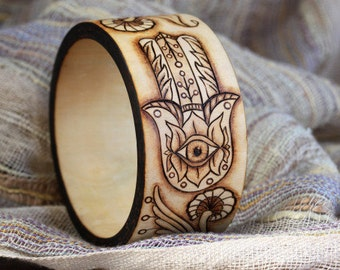 Personalized Art Jewelry Bangle Bracelet Wood Burning Pyrography Nature Hippie Boho