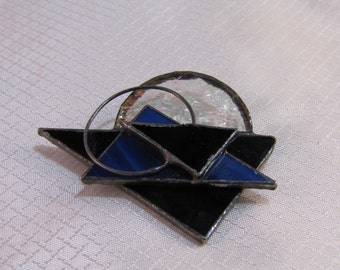Artisan Stained Glass Brooch, Geometric Stained Glass Brooch