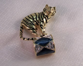 c1980s' Kenneth Jay Lane Circus Tiger Brooch