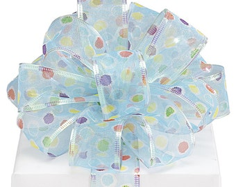 "5yds x 1-1/2"" Sheer Wired Ribbon Iridescent  Blue & Multi-Colored Polka Dots"
