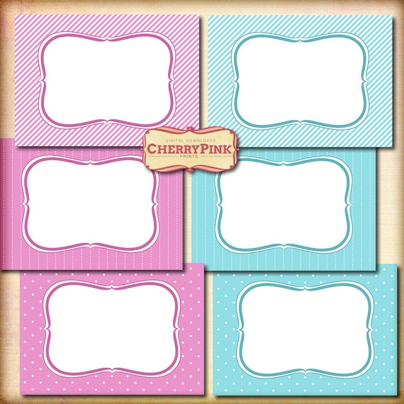 Blue and Pink Printable Tags, Labels, frames for scrapbooking, cardmaking and presents, perfect for baby presents, stripe and dot.