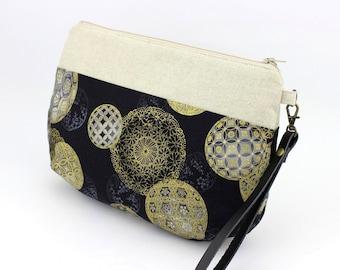 Wristlet Purse,Gift For Women, Clutch Purse,Golden Balls, Black Purse,