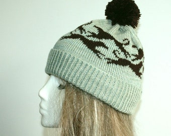 Sea green and dark brown running Whippet dog pompom bobble hat