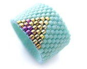 Triangle Mint Ring, Gold Triangle Ring, Dreadlock Bead, Geometric