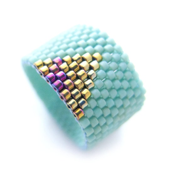 Mint Ring, Beaded Mint Ring, Mint Triangle Ring, Gold Triangle Ring, Dreadlock Bead, Geometric