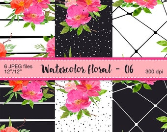 Watercolor floral digital papers - Digital Scrapbook Paper, Romantic  flowers, Watercolor flowers, Floral Patterns, Digital Scrapbooking