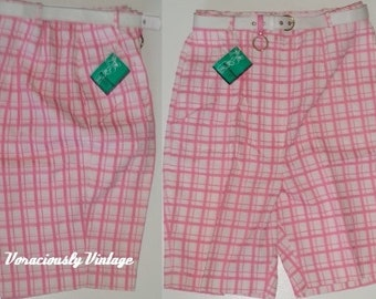 Vintage 50's  60's High Waist Bombshell Shorts M to L 16 Mid CenturyGOLF-A-ROUNDS By Louise Suggs Pink Plaid Bermuda