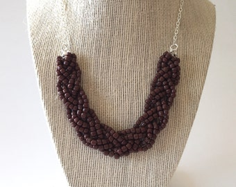 Brown Beaded Braid Necklace