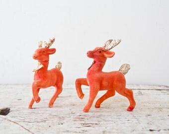 Pair of Red Velvet Statue Toy Deer Reindeer Decoration Christmas