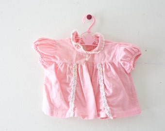 Vintage Baby Dress Vintage Pink Ruffle Dress Size 0-3 Months Small Newborn Pink Dress