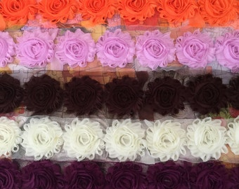 5 Yards Shabby Flowers - Orange , Baby Pink , Brown , Ivory and Red Plum