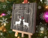 Our First Christmas Engaged Ornament - Personalized Ornament Mini Canvas Easel - Bridal Shower Engagement Gift - Custom Deer Christmas Gift