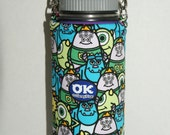 "Insulated Water Bottle Holder for 18oz Hydro Flask with Interchangeble Handle and Strap Made with ""Monster's University"" Fabric"