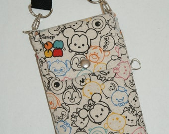 "2 Way Cell Phone Cross Body Bag / Hook Bag with 2 Exterior Pockets Made with Japanese Cotton Linen Fabric ""Tsum Tsum Cotton Linen #2"""
