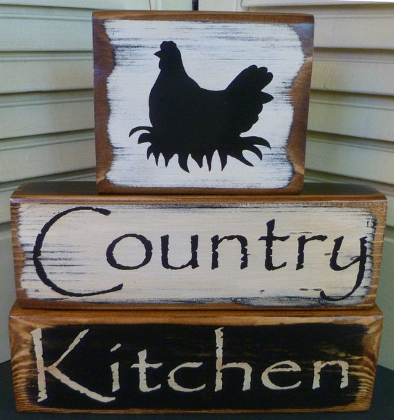 Custom Order: Country Kitchen Blocks Black & White Chicken Wood Hand Painted Primitive