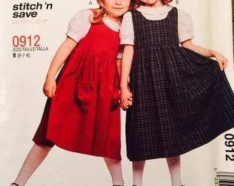 Stitch 'n Save 0912 Children's and Girls' Jumper and Blouse Pattern, UNCUT, Size 6-7-8, McCall's 0912, 2003, Party Dress, School Dress