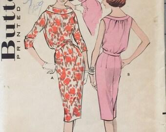 "Butterick 8935 Misses' Bloused Bodice Dress Pattern, UNCUT, Size 16, Bust 36"", Vintage Mid Century Pattern, 1959, Retro, High Waisted Dress"