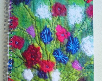 art print notebook,sketchbook, printed image, felt, felted, flowers